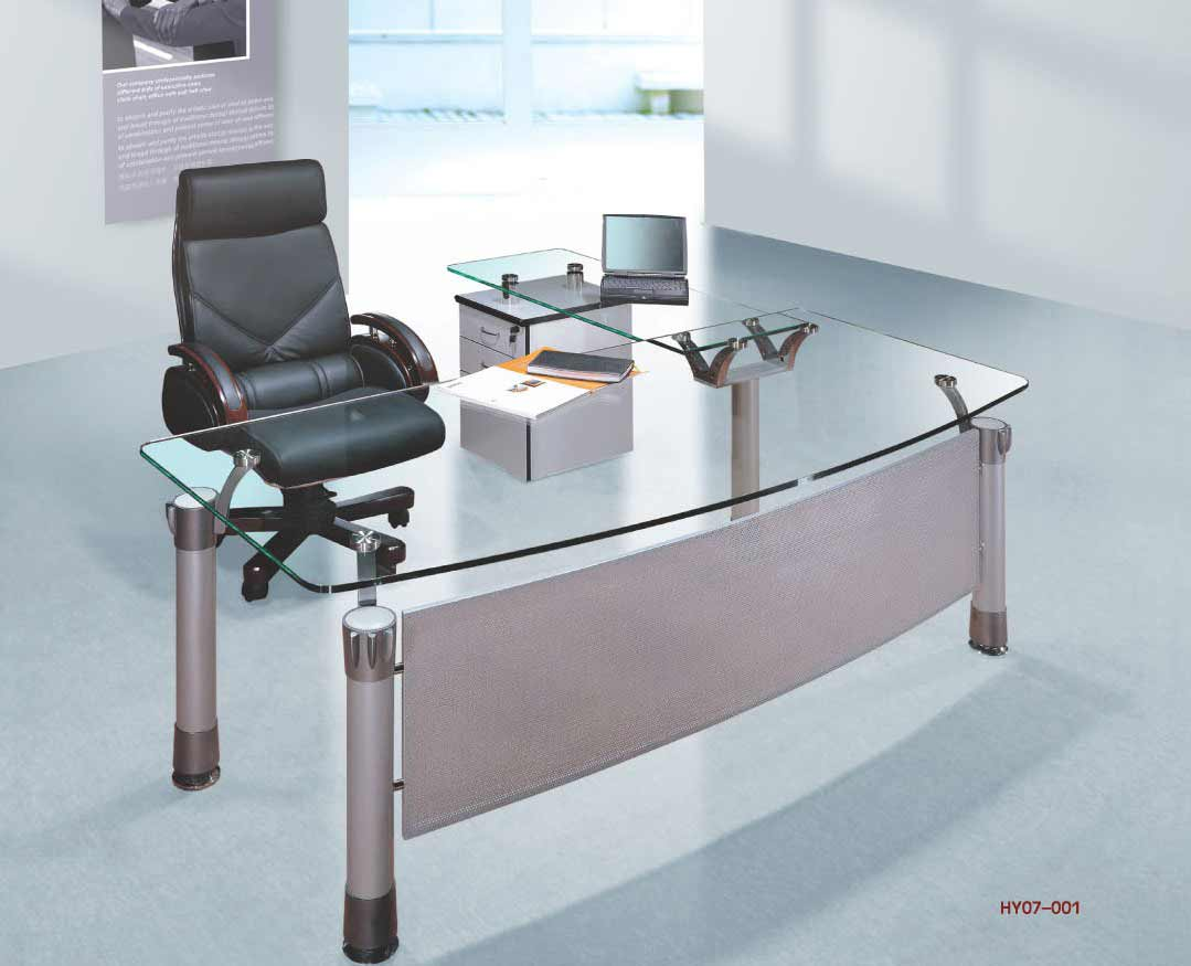 modern glass top office desk model