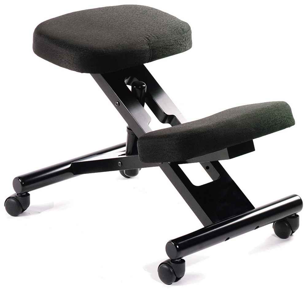 Adjustable Black Kneeling Stool with Casters