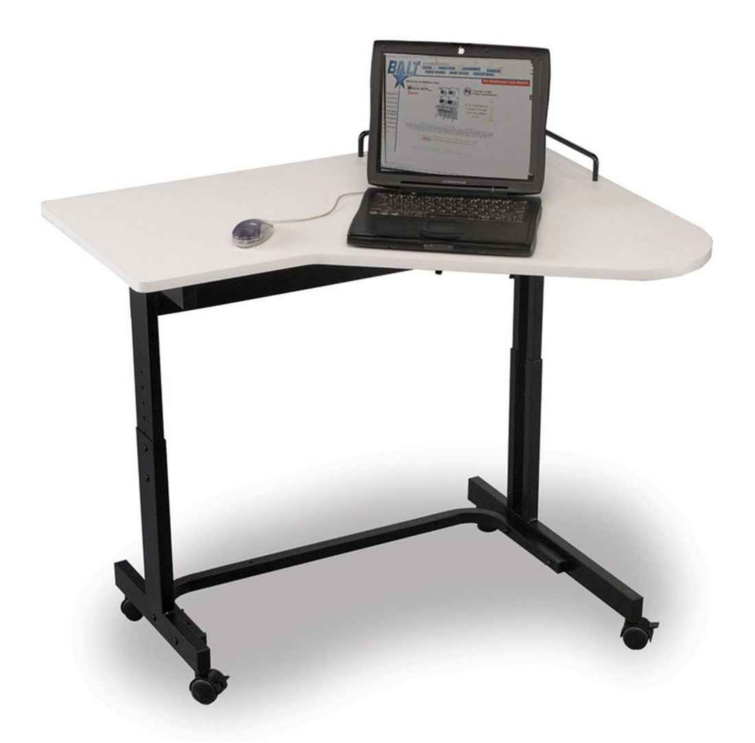 Adjustable Height Black Metal Laptop Table