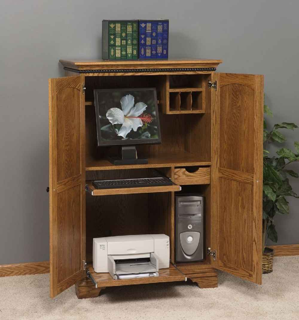 Amish petite wooden mission computer armoire