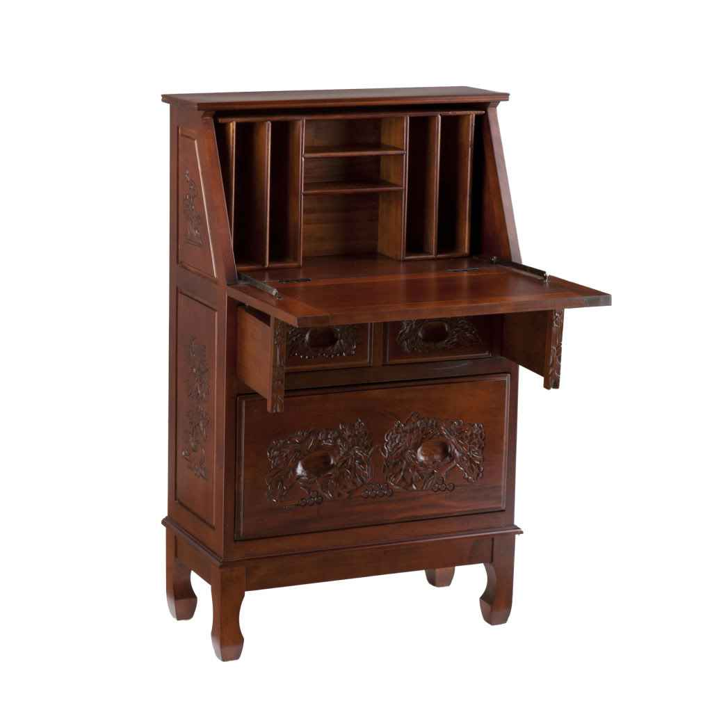 British Drop Front Secretary Desk with Hutch