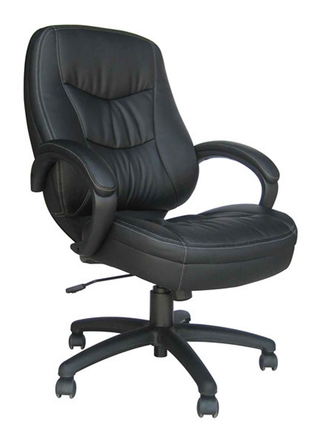 Brooklyn black leather office chair with arms