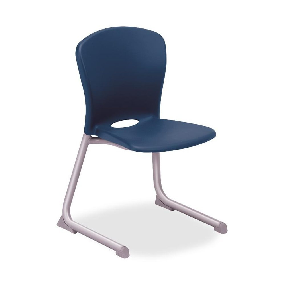 Contemporary Armless Blue Desk Stack Chair