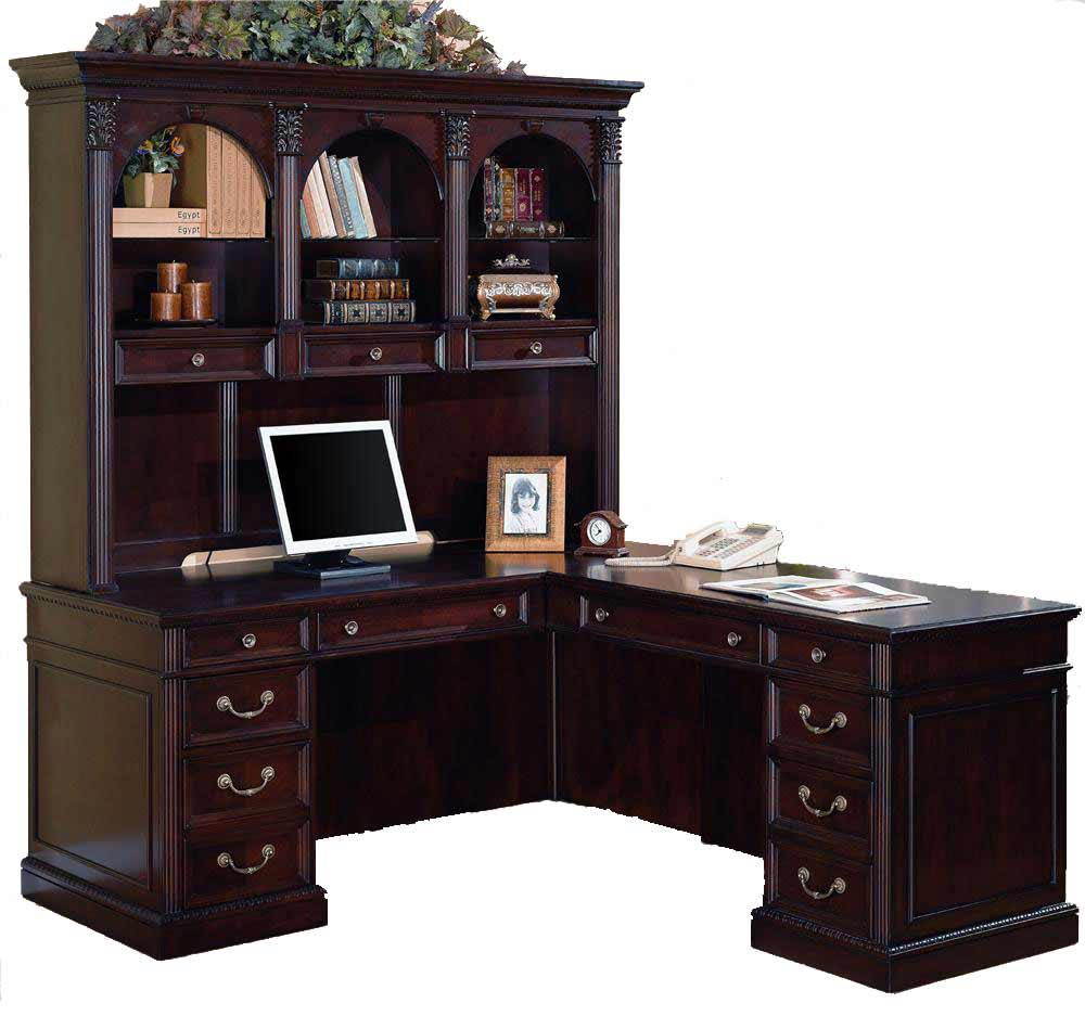 Dark Cherry L-Shaped Office Computer Desk