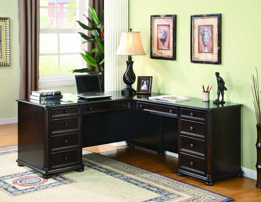elegant black shade office l desk