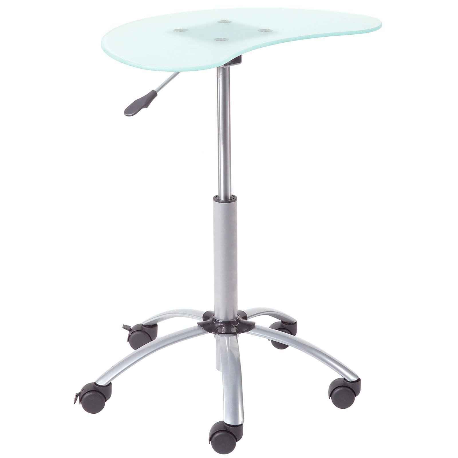 Euro Style Malcom Glass Top Laptop Stand with Wheels