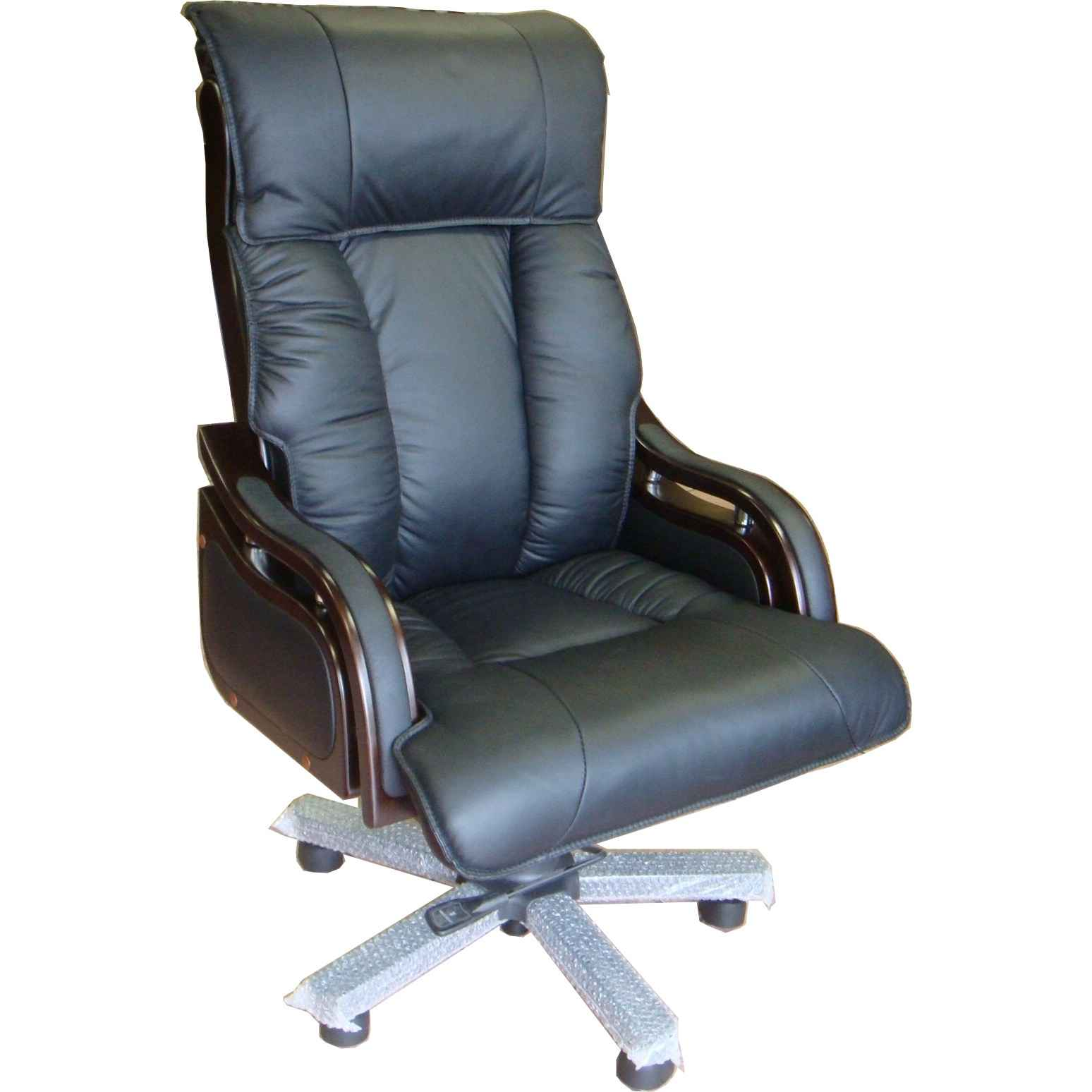 Executive high back black leather desk chair