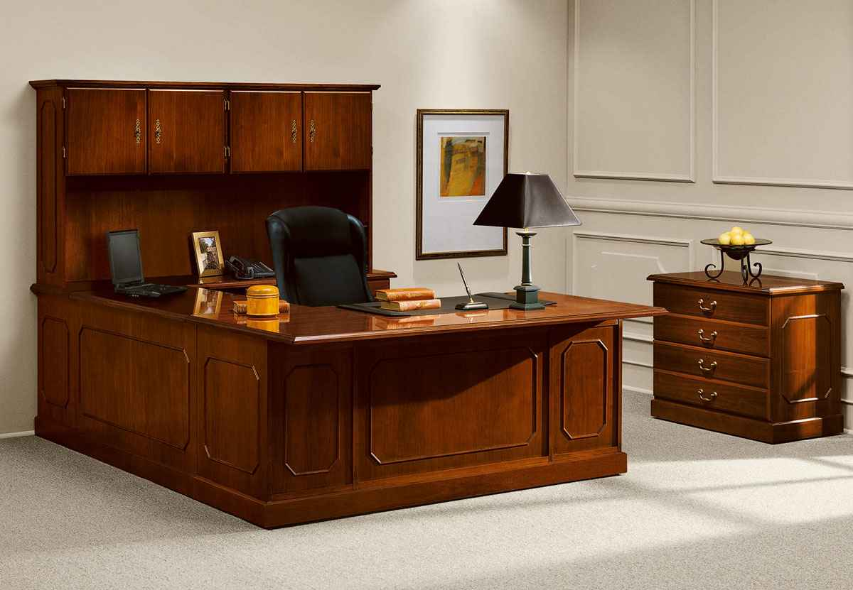manager office desk with hutch and cabinet