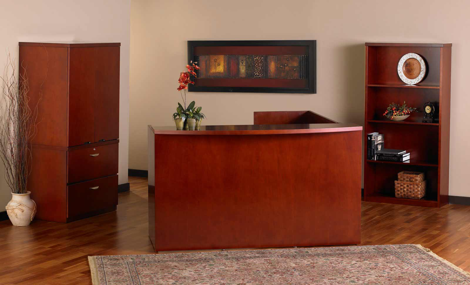 Second-hand pine reception desk furniture