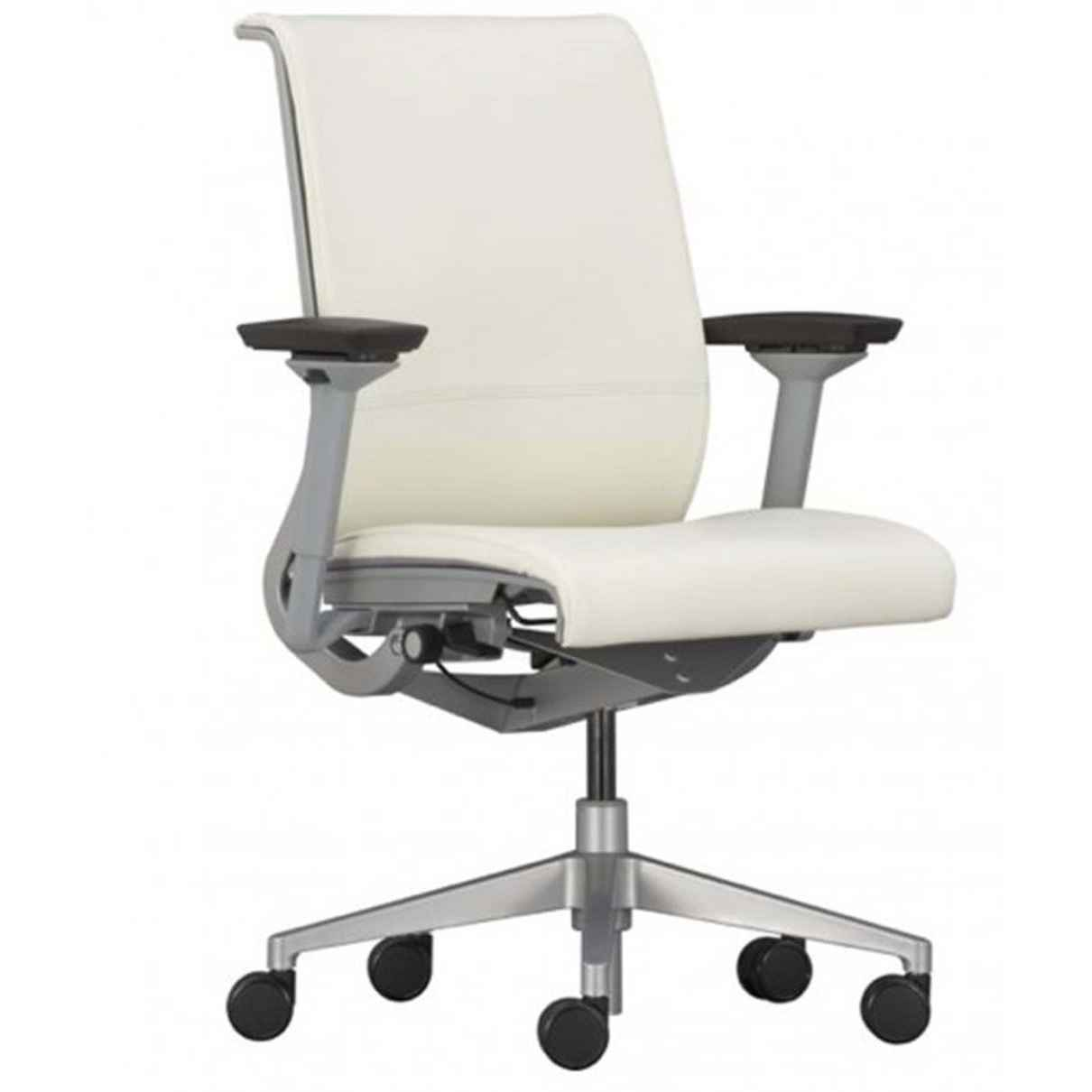 Soft white leather desk chair