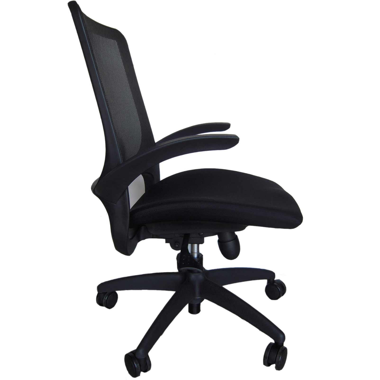 Solid Black Office Mesh Chair with Lumbar Support