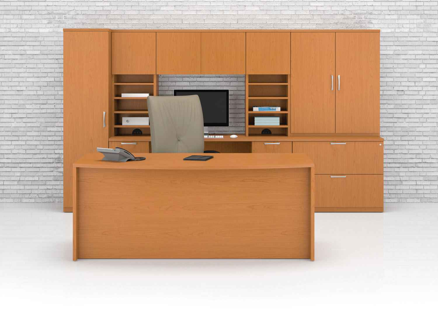 Solid Wood Executive Office Desk with Storage