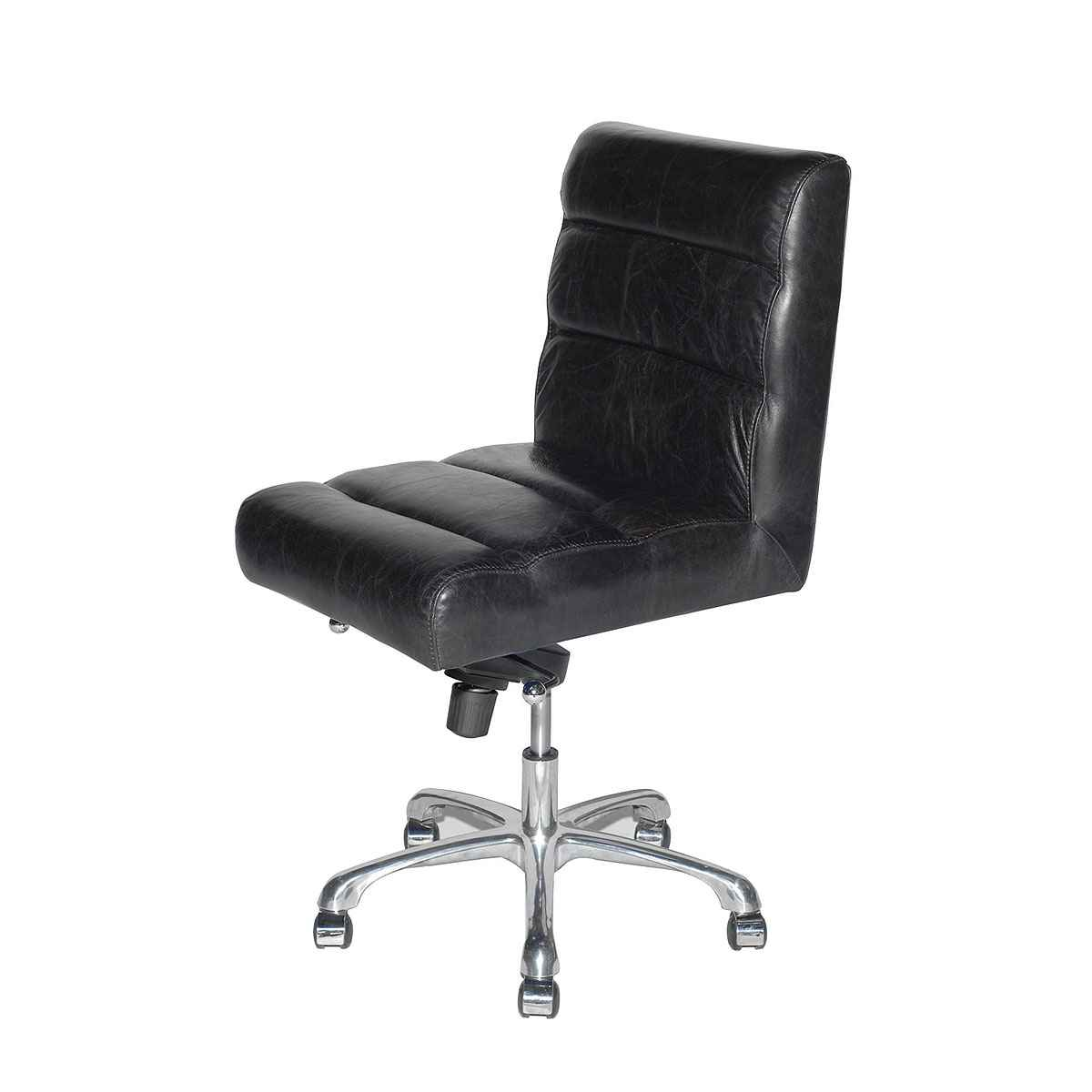 Stinger Armless Top Grain Leather Desk Chair in Black