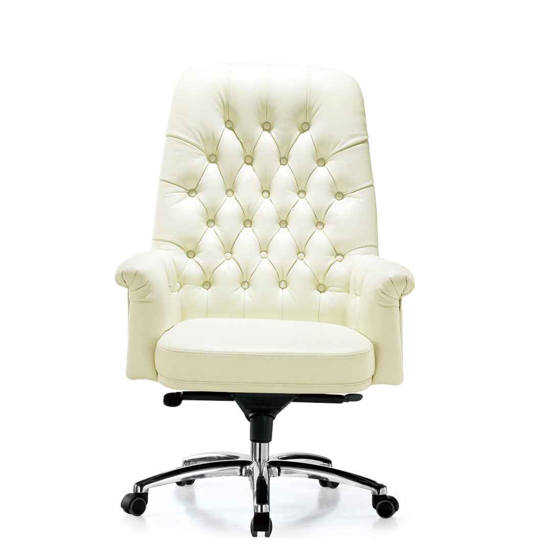Swivel Luxury White Leather Office Chair