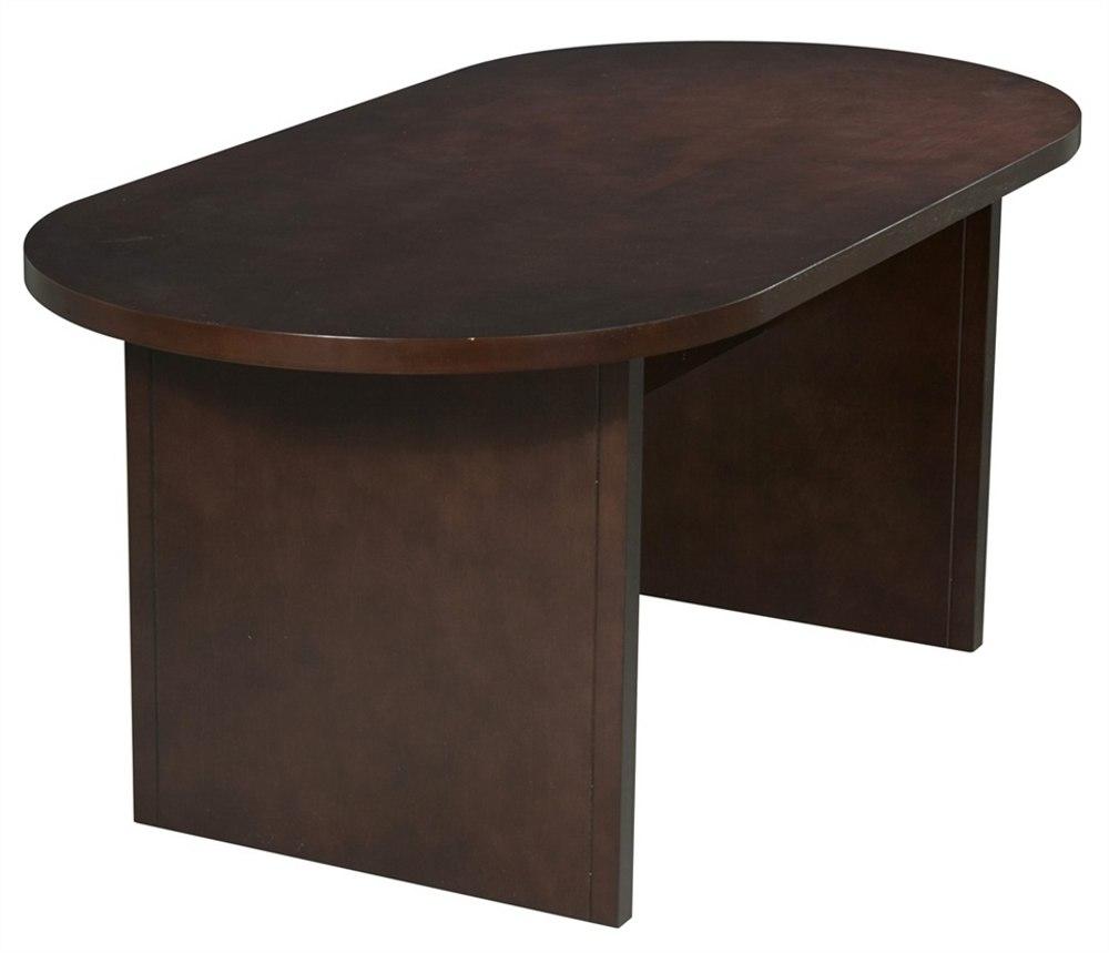 Big Wooden Conference Desk in Dark Mahogany Polish