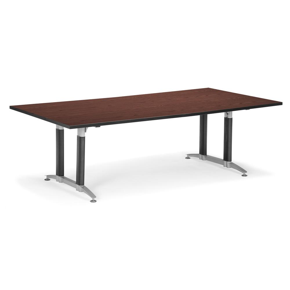 Contemporary Mahogany Meeting Room Table with Mesh Base