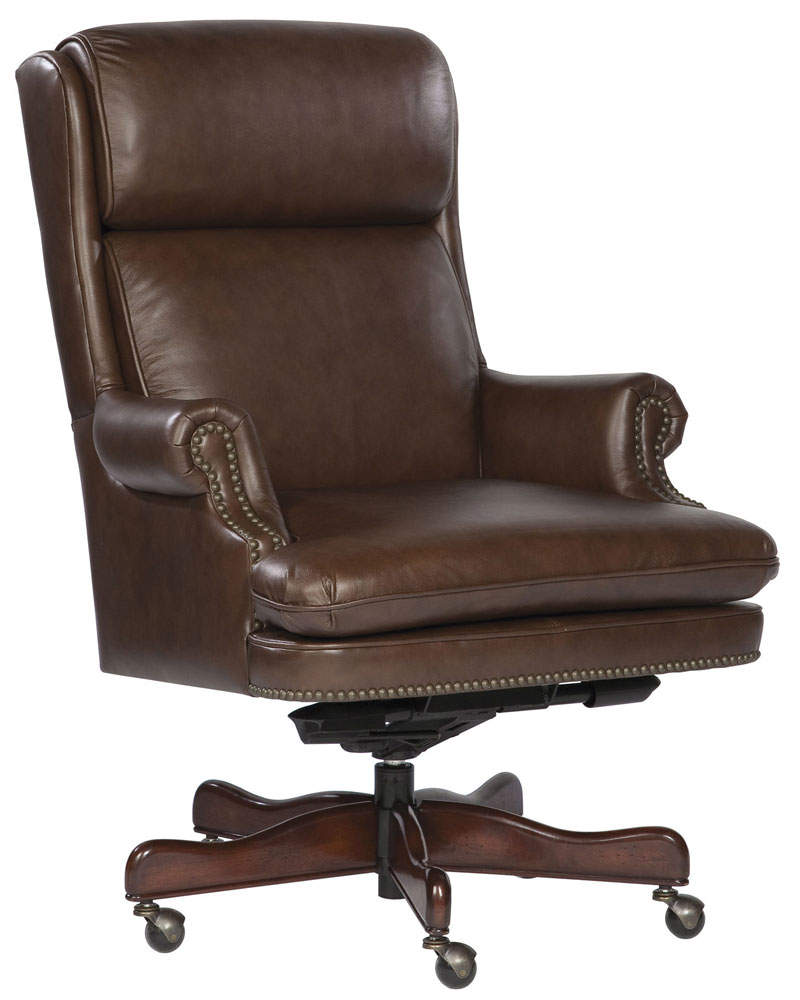 Hekman Antique Leather Swivel Office Chair