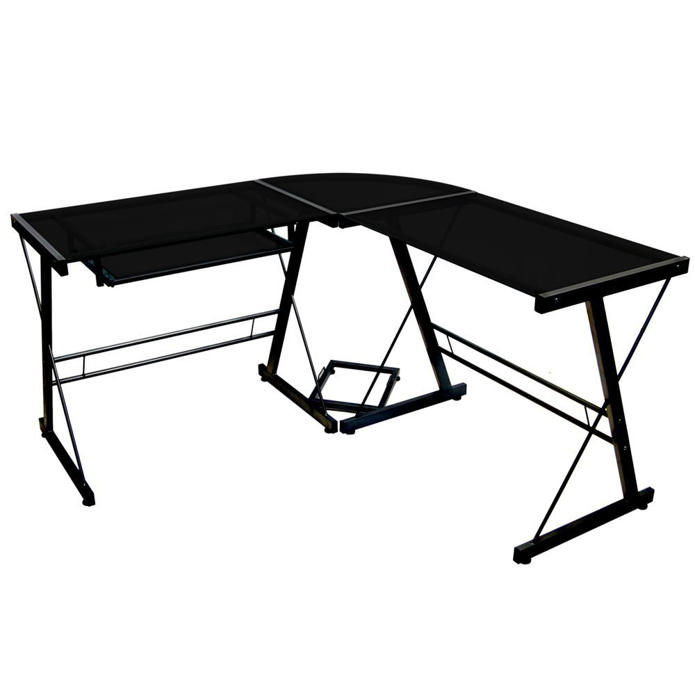 Walker Edison Sorano Black Contemporary Glass and Steel Desk