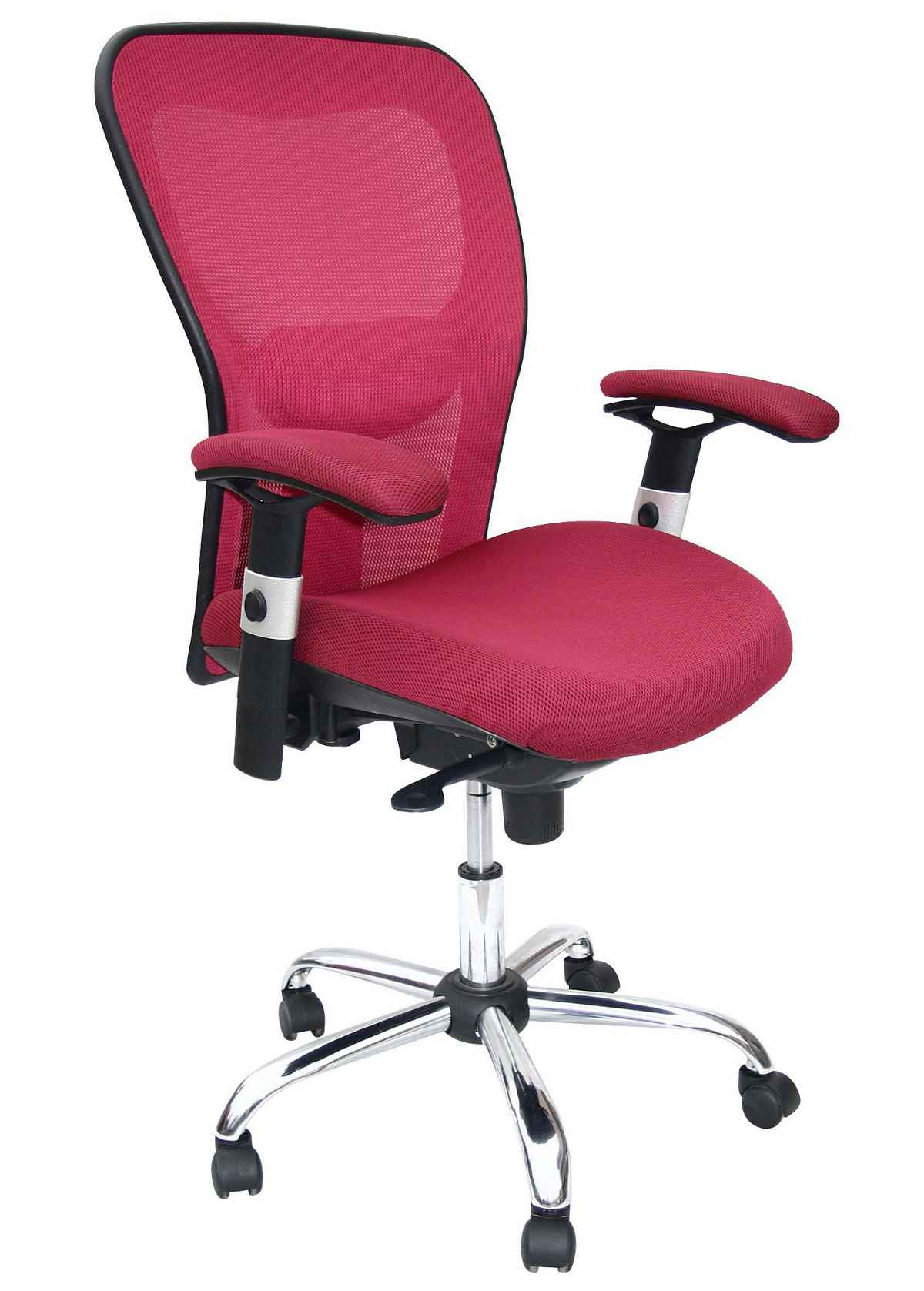 Zonman Pink Mesh Office Computer Chair with Arms