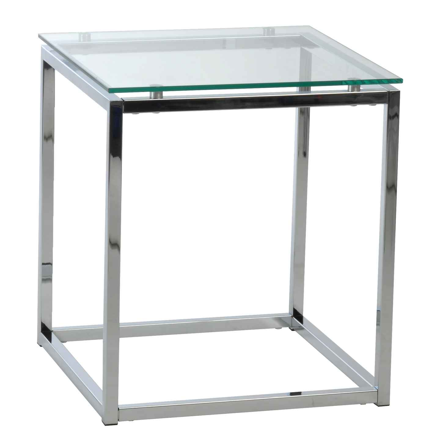 tempered glass top table with chromed steel frame