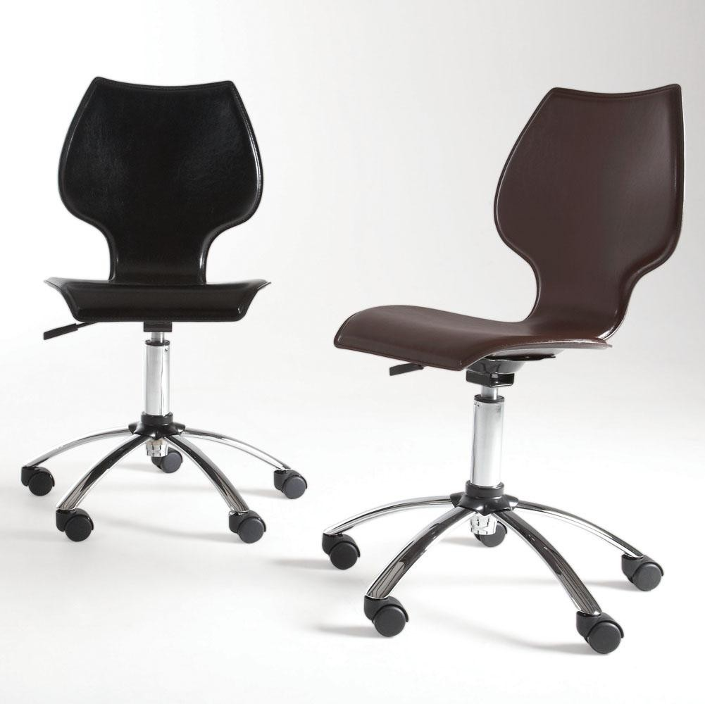 Armless black brown guest office chair