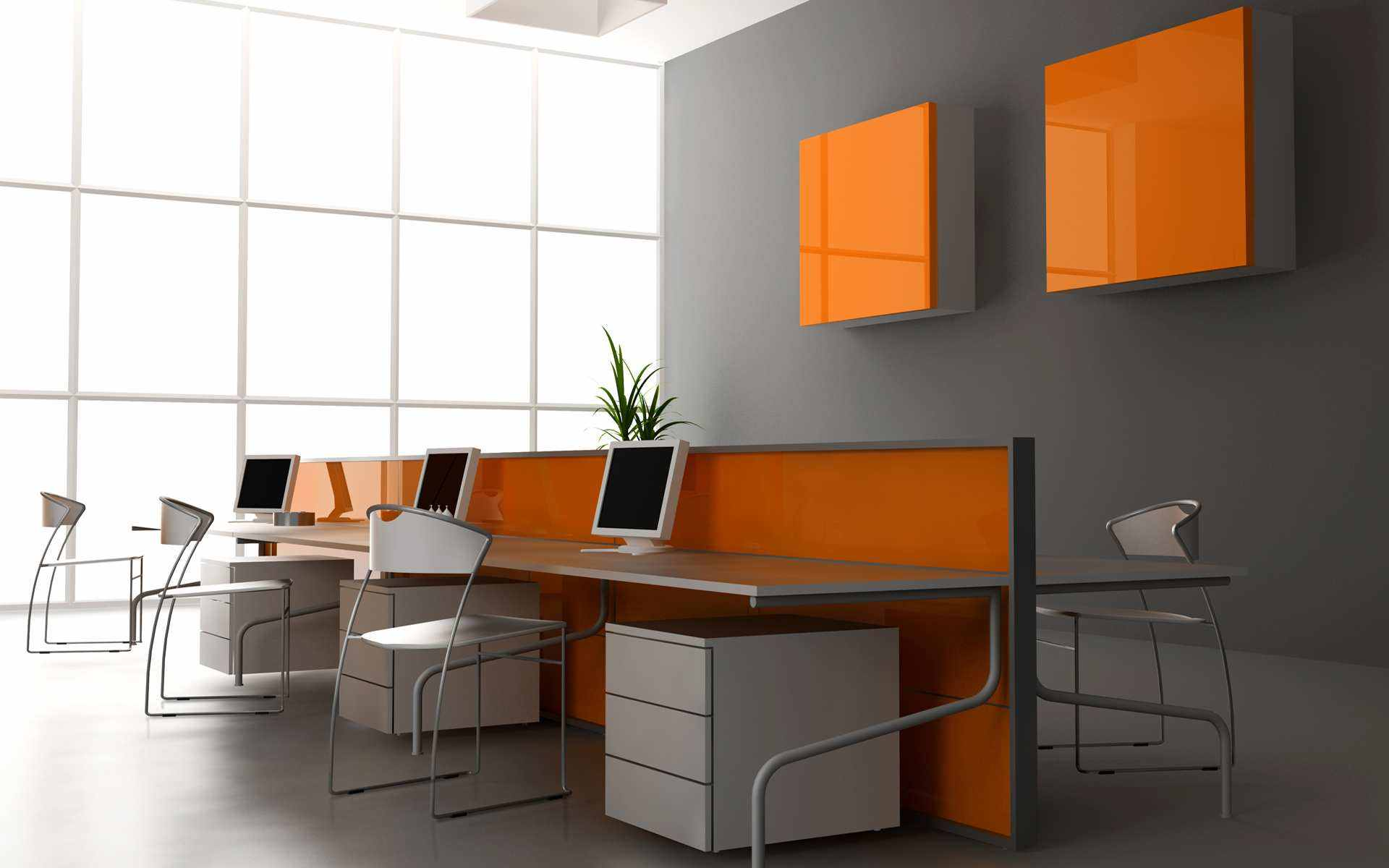 Simple plain office furniture placement