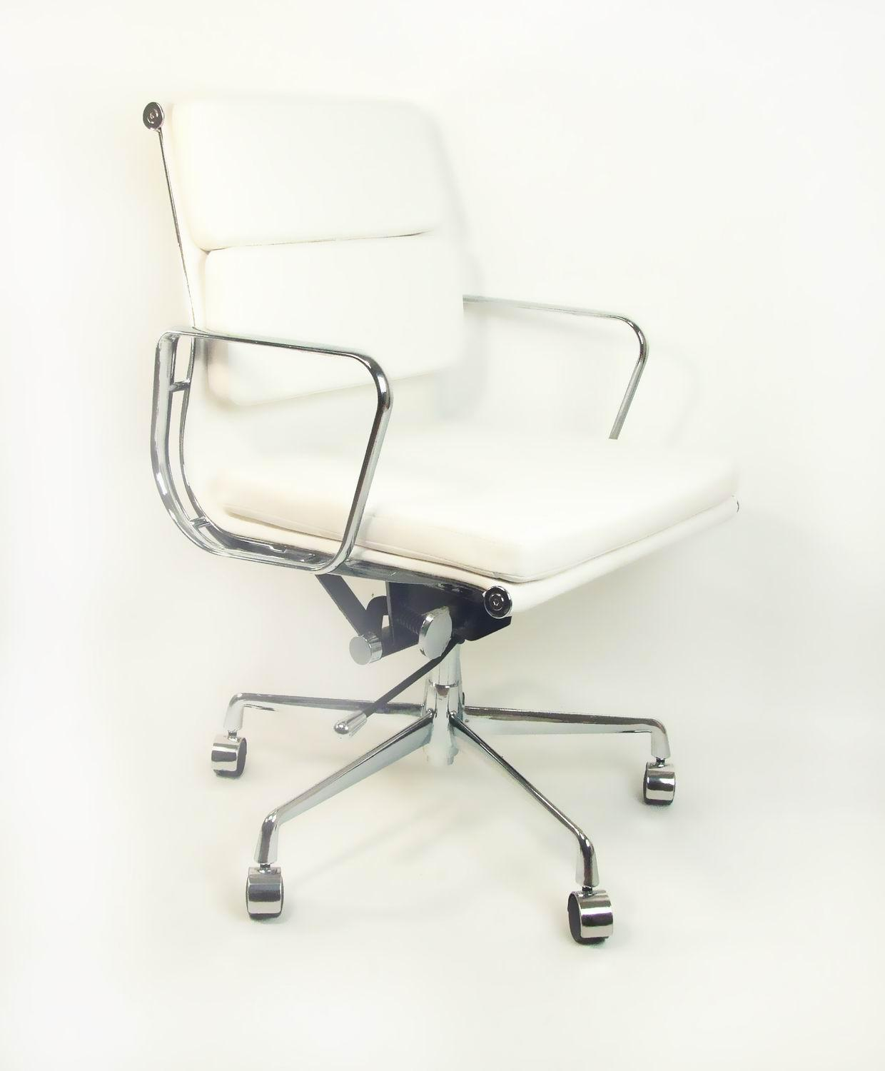 White leather executive office chair with strong construction