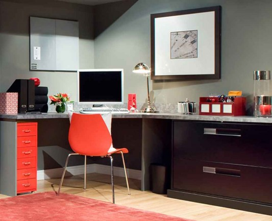 orange office furniture layout