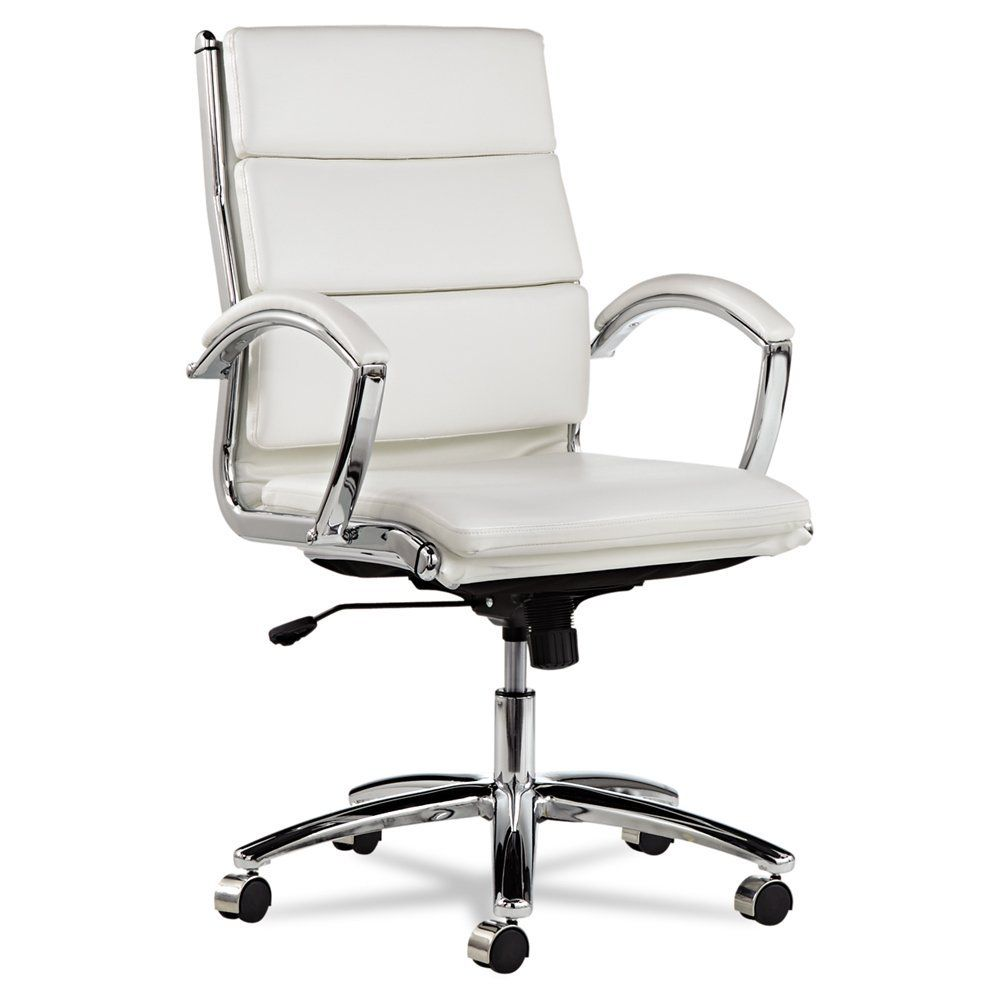 Alera Neratoli White Faux Leather Mid-Back Swivel Chair