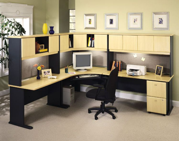 Large corner desk home office decorating schemes for Large home office