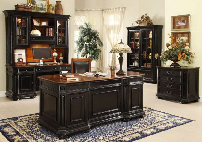Allegro Managerial Home Office Desk Collection in Black Finish
