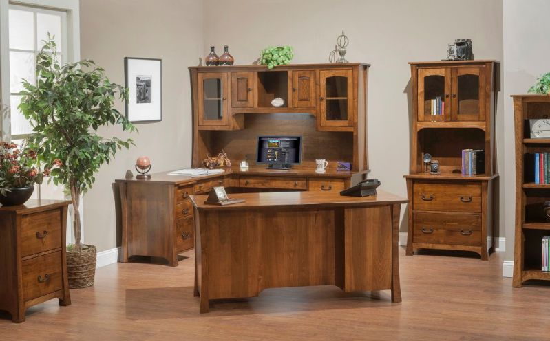 Amish Solid Wood Executive Office Furniture Suite