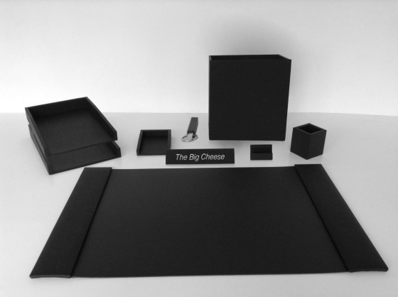 Black leather writing pad and accessories