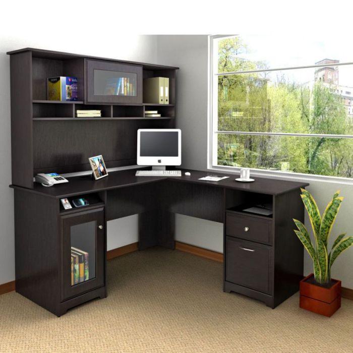 "Bush Cabot Collection 60"" L-Desk with Hutch"