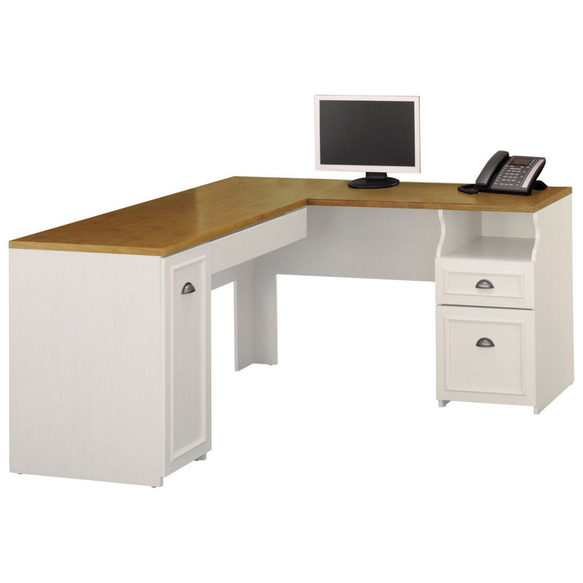 Bush Fairview L-Shaped Antique White Wood Computer Desks