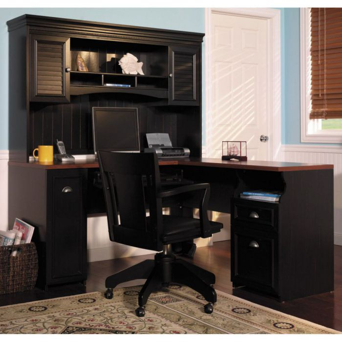 Bush Fairview L Shaped Desk with Hutch for Home Office