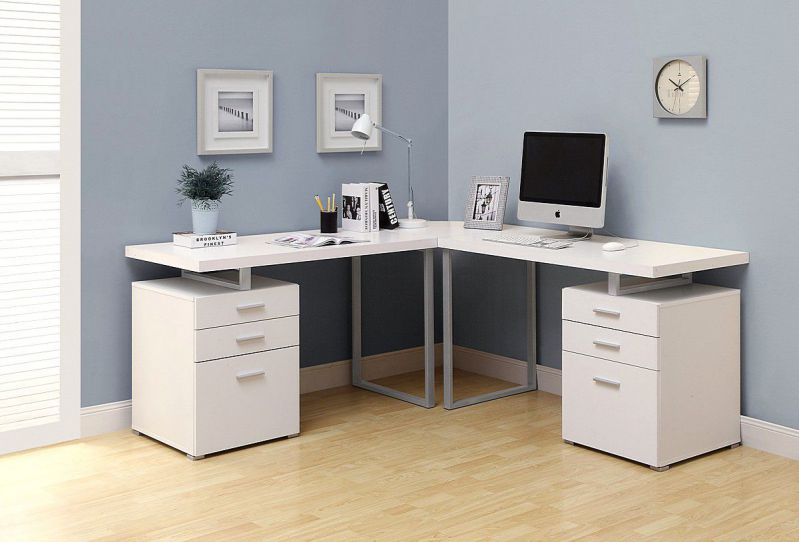 Corner White Computer and Writing Table with Under Cabinet