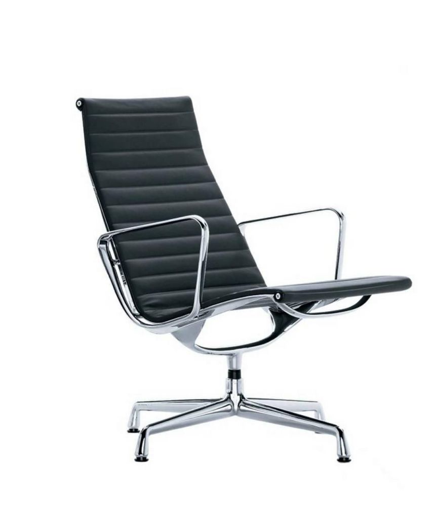 Ergonomic modern black leather home office chair