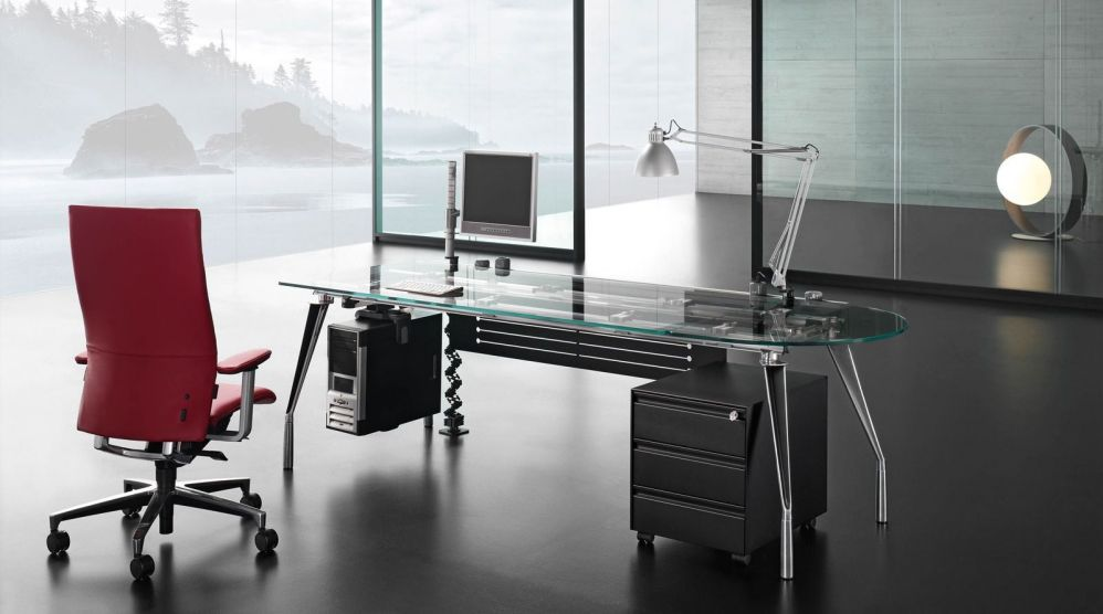 Executive tempered glass office desk
