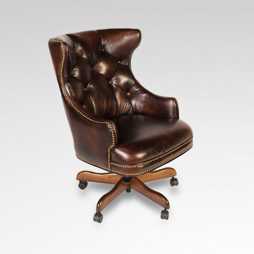 High back leather office desk chair