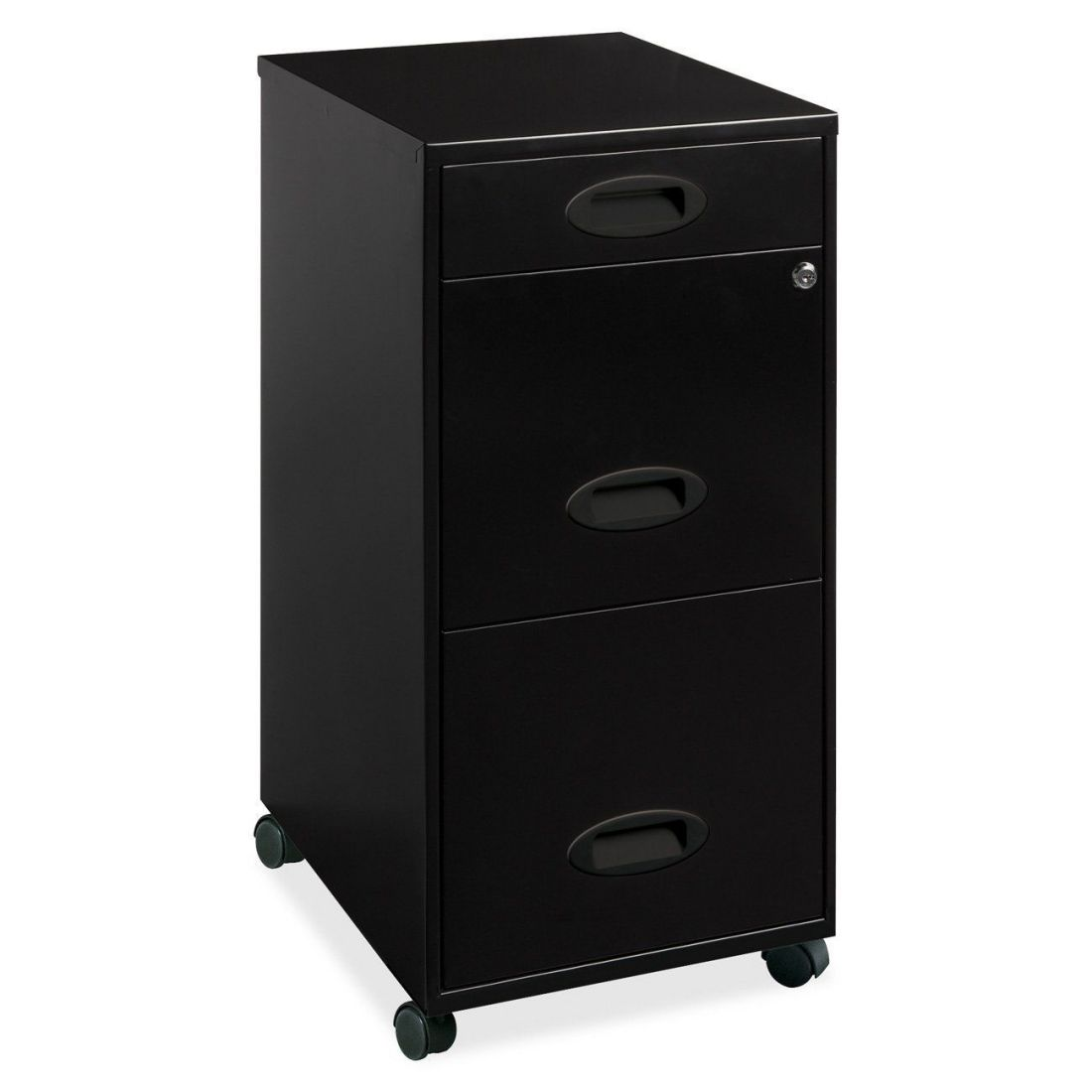 Lorell black metal small lockable mobile filing cabinet