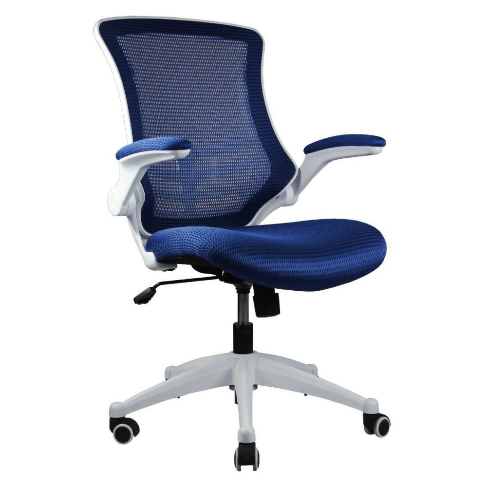 Manhattan Comfort High Back Blue Mesh Conference Chair With Wheels