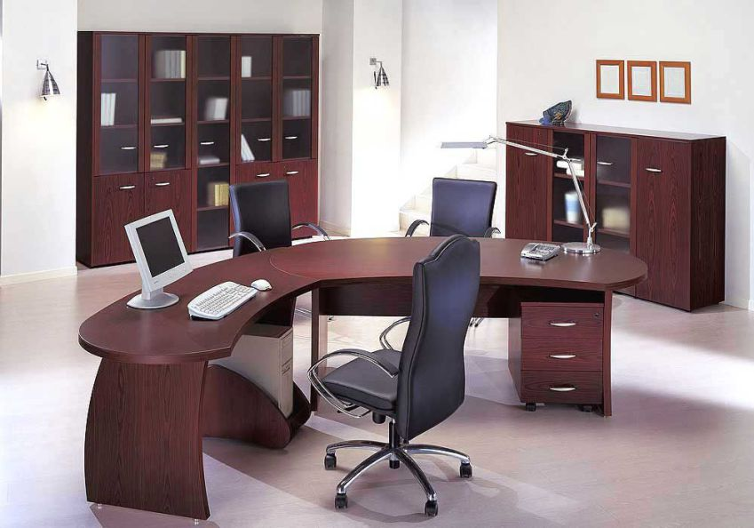 Modern Curved Desk Set with Office Furniture Sets