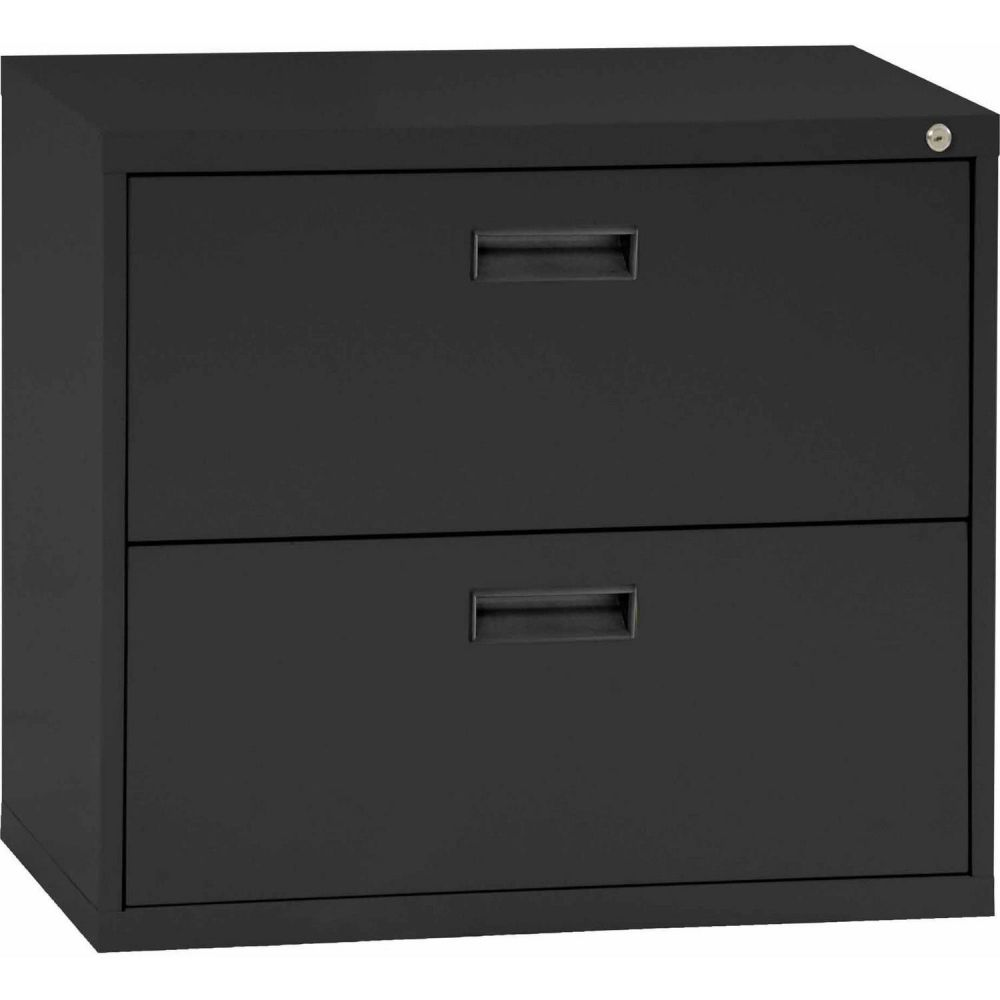 Sandusky black steel 2 drawer file cabinet with lock