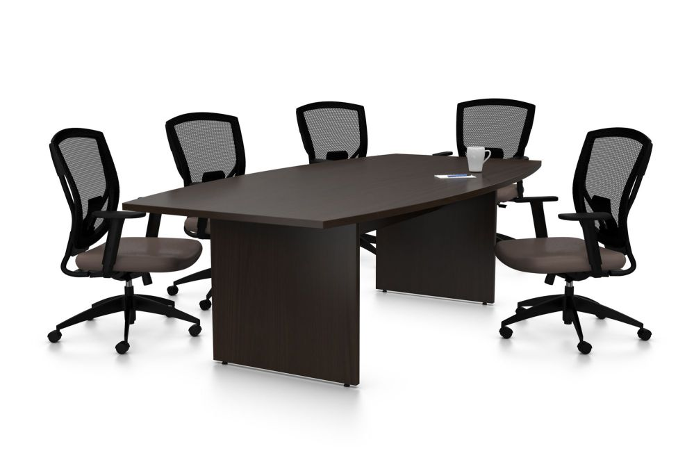 Small boardroom table with mesh chair
