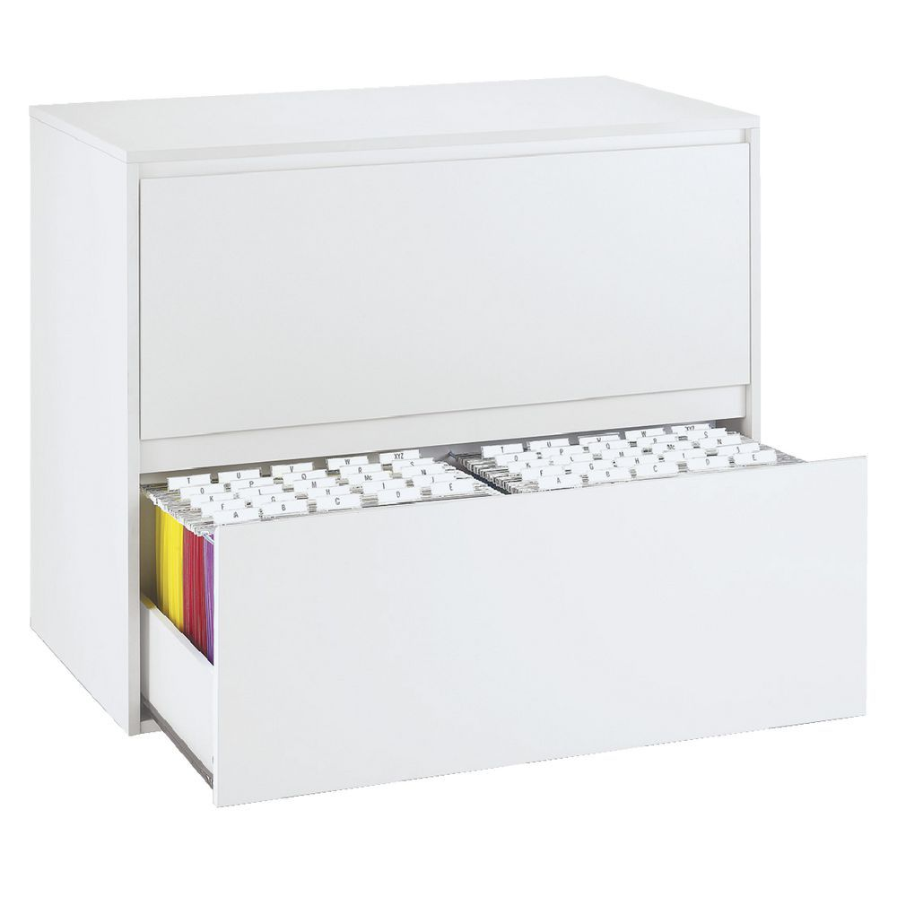 Space-saving lateral file cabinet in white