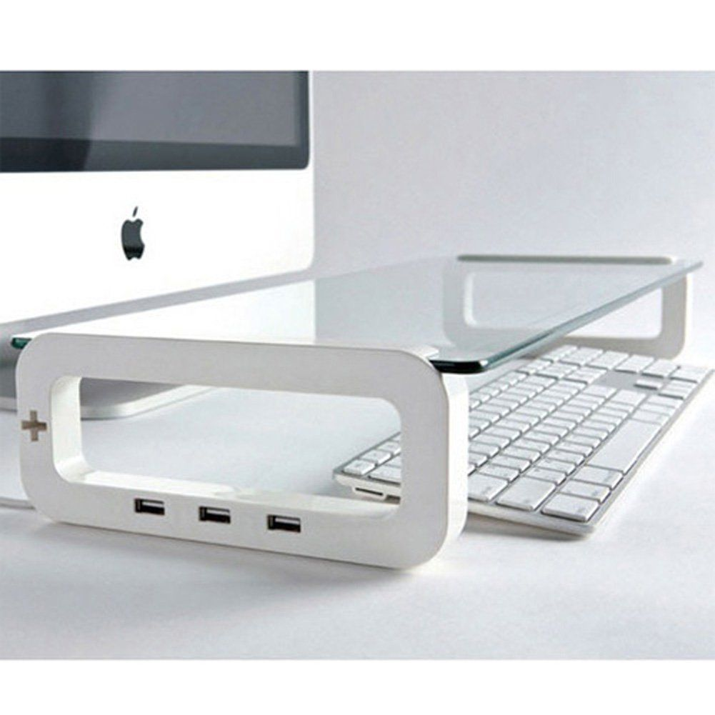 UBOARD SMART Tempered Glass Monitor Stand Shelf USB Multiboard for your PC iMac and iPhone