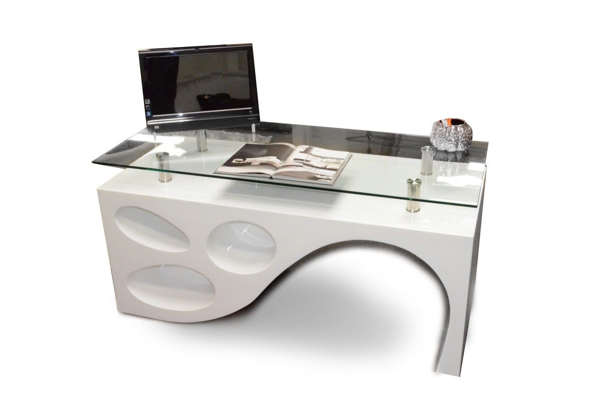 Unique Glass Top Computer Desk for Home Office