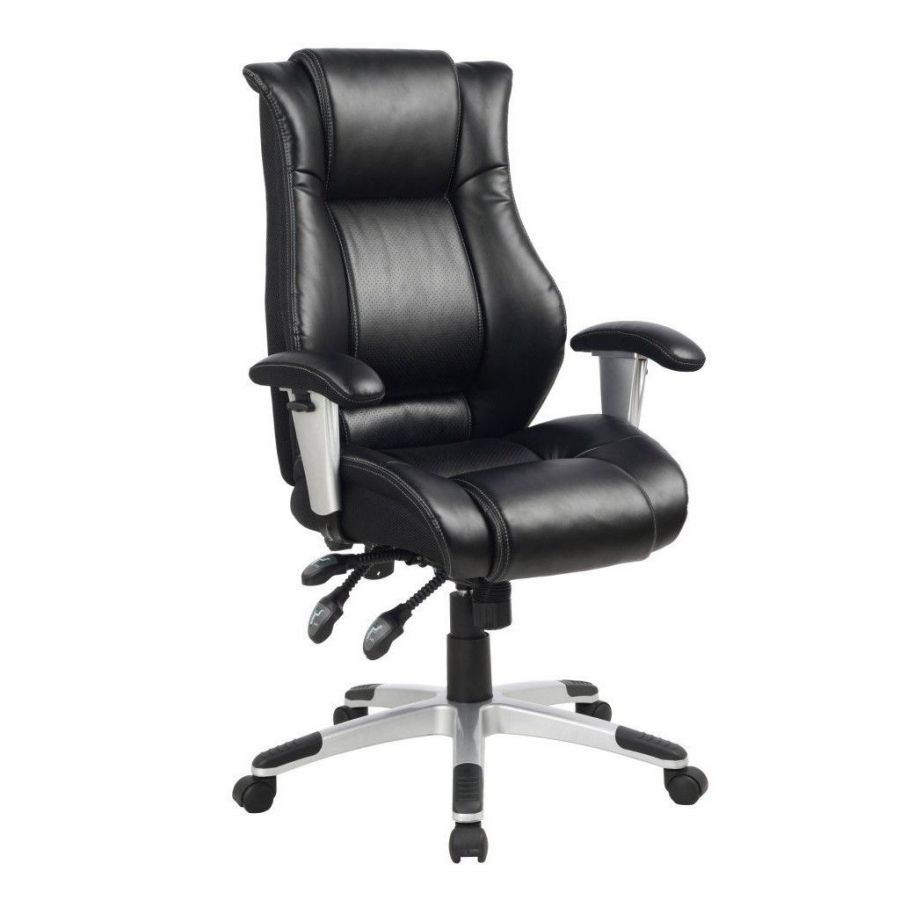 Viva Office Ergonomic High-Back Leather Executive Chair with Side Waist and Lumbar Support