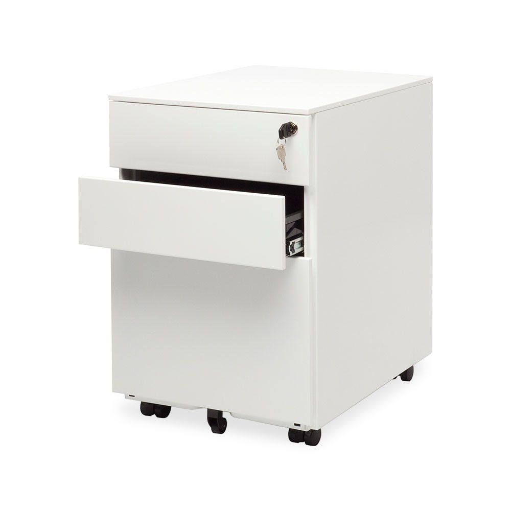 White 2 drawer metal file cabinet with wheels